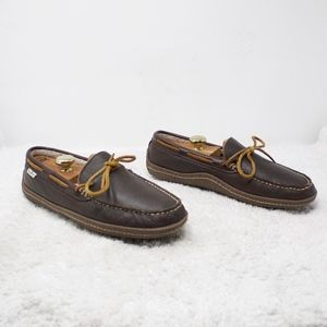 LL Bean Brown Leather Slippers Size 8